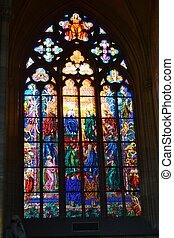 Stained glass ornament in St. Vitus cathedral, Prague, Czech...