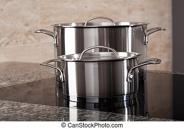 Two aluminum pots on induction hob - Two new clean aluminum...