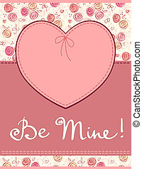 Vector pink heart textile label