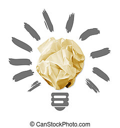 Wad of crumpled paper in the form of light bulbs. isolated...