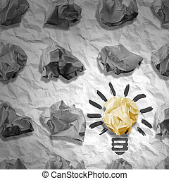 Lamp made ??of paper and crumpled paper wads. Background of...