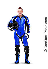Full length portrait of a biker in dark blue equipment