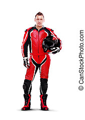Full length portrait of a motorcyclist biker in red...