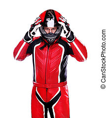 Biker, vermelho, equipamento, segurando, seu, capacete,...