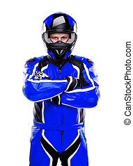 Motorcyclist biker in dark blue equipment on white...