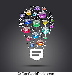 Lamp consisting of apps icons The concept of software