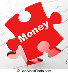 Business concept: Money on puzzle background
