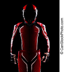 Low key silhouette of a biker - Low key silhouette of a...
