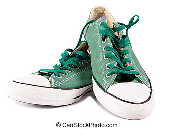 Old style sneackers - Pair of old style sneakers isolated on...