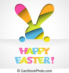 Happy easter card with bunny and font on white paper...