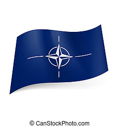 Flag of NATO: compass rose with four lines on blue...