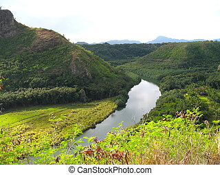 The Island of Kauai - a river runs through tropical forest...