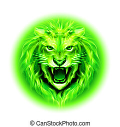 Head of fire lion. - Head of aggressive green fire lion...
