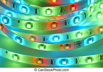 light emitting diodes - LED strip with red, green and blue...