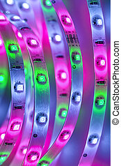 light emitting diodes - LED strip with violet, green and...