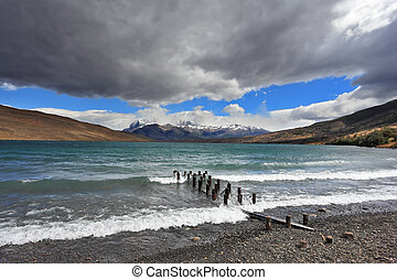 Boat dock - National Park Torres del Paine in Patagonia,...