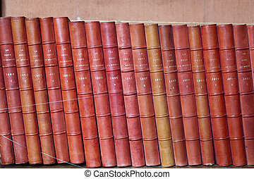 Vintage books in different shades of red and brown in...