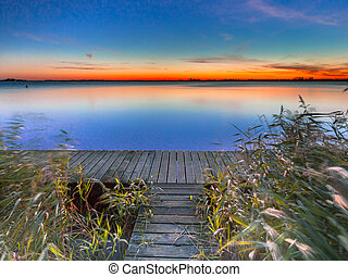 Beautiful Sunset over Schildmeer near Appingedam in the...