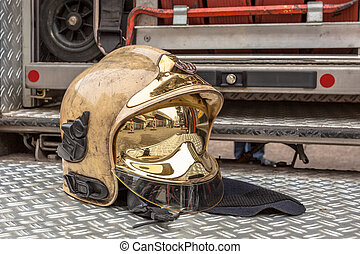 Modern Golden Fire Brigade Helmet - Helmet and Other...