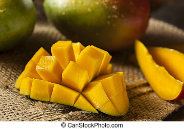 Organic Colorful Ripe Mangos on a Background