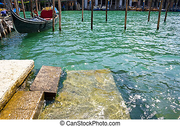 Venetian gondola - Typical venetian canal and nice gondola,...