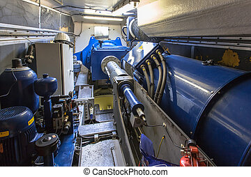 Interior of a Nacelle or Wind Turbine Housing - Axle and...