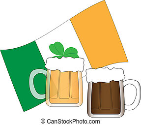 Two mugs of beer and Irish flag illustration