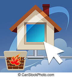 Homepage - Illustration with icon of homepage and firewall...