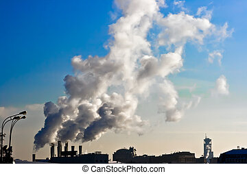 Air pollution - Od power plant with chimneys and white...