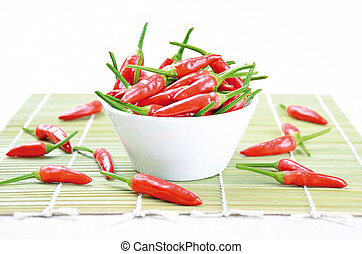 Tabasco Chilies - Red hot chili peppers in a white bowl on a...