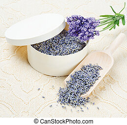 Lavender Flowers - Dried and fresh lavender flowers in a...