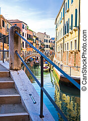 Venetian canal - View from a typical venetian bridge, Italy