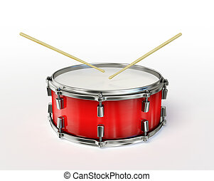 drum - red drum isolated on a white background