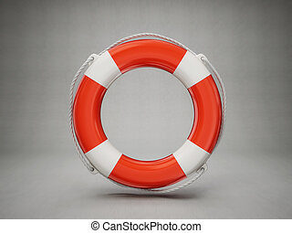 lifebuoy isolated on a grey background 3d illustration