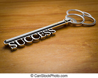 Key to Success - Wood - A silver key with the word Success...