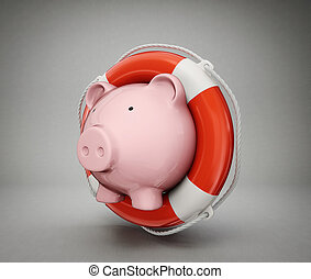 piggy bank isolated on a  grey  background