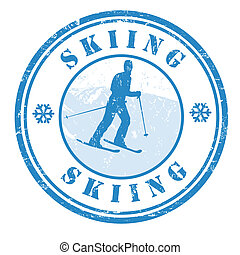 Skiing stamp - Grunge rubber stamp with skier shape and the...