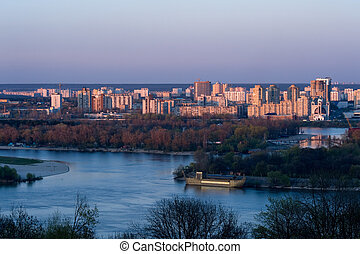 Modern Kiev - View of modern left-bank Kiev in sunset
