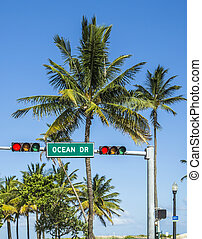 ocean drive sign in south beach with palms