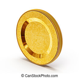 coin - gold coin isolated on a white background