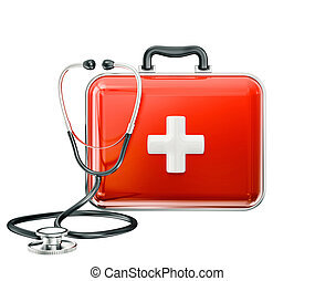 first aid box isolated on a white background
