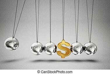 balancing balls - conceptual balancing balls with dollar...