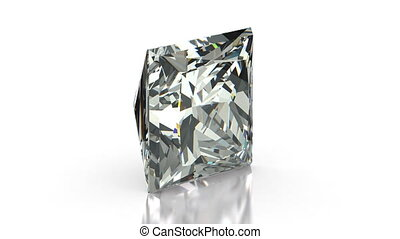 Princess Cut Diamond - Princess cut diamond on white...