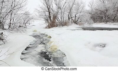 Winter scenic of the River Krynka, Donetsk region, Ukraine....