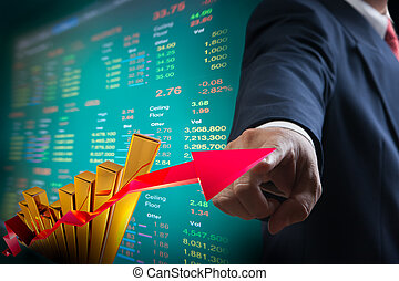 Business man point to up graph of stock market