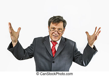 smart business man holding a speach - business man holding a...