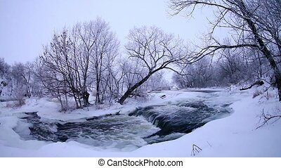 Winter scenic of the River Krynka, Donetsk region, Ukraine...