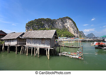 "Ao Phang nga National Park. Koh Panyee. A Muslim ""sea gypsy""..."