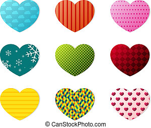 Hearts collection - Set of 9 hearts with different patterns...