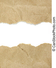 Textured torn recycled paper copy space
